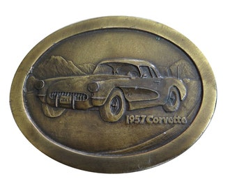 Vintage 1957 Corvette Belt Buckle - Racing - Sports Car - Auto - Stingray - Solid Brass C3 C4 - Automobile - Fathers Day Gift Idea