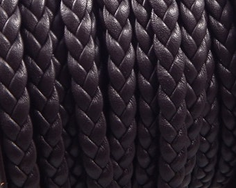 Brown flat leather braid 0,24 inches by 7,9 inches