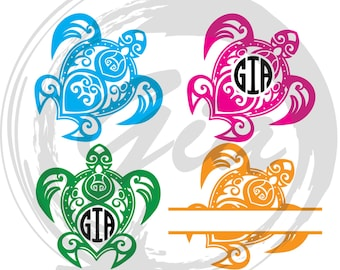 Tribal Sea Turtle Monogram frame SVG, turtle tribal clipart svg, ready to cut files for Cricut, Silhouette etc, also in png, eps & DXF