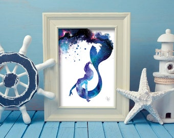 Watercolor Mermaid Print - Galaxy Mermaid Painting - Mermaid lover - Beach Decor -girls bedroom -  Mermaid Gift - Little Mermaid