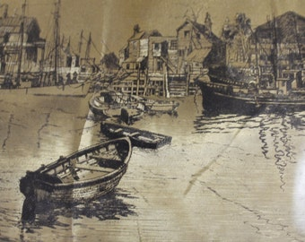 Signed Lionel Barrymore Etchings on Gold Foil, San Pedro is The Place of The Etching, Mid - Century Maybe Earlier, Very Collectible