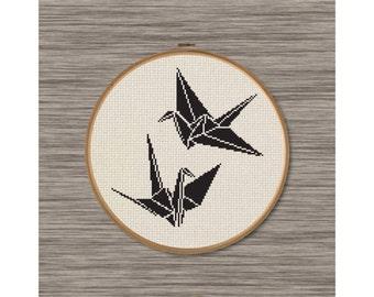 2 Paper Cranes - PDF Cross Stitch Pattern