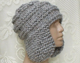 Gray marble tweed ear flap hat, trapper cap, gray hat, beanie hat, gray knit hat, winter hat, mens womens hat, toque, ski toboggan, hiking
