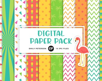 50% OFF SALE! Tropical Digital Paper, Flamingo Background Paper - Commercial Use, Instant Download