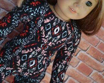 18 inch Doll Clothes - Aztec Tribal Long sleeved T-shirt - BLACK AQUA PEACH - fits American Girl