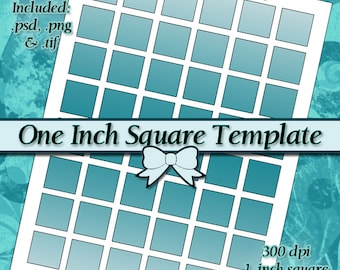 DIY DIGITAL Collage Sheet TEMPLATE 1 Inch Square 8.5x11 Page with Video Tutorial Instructions (Instant Download)