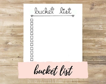 Bucket List: Bullet Journal Printable