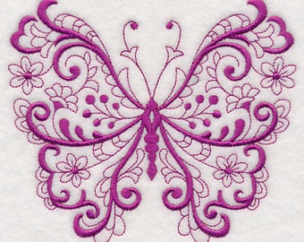 Fanciful Filigree Butterfly, Embroidered flour sack towel, tea towel, hand towel or dish towel