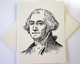 President George Washington Cards Set of 10 in White or Light Ivory with Matching Envelopes