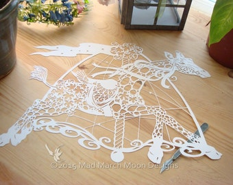 papercut template, commercial use Maple the Carousel Giraffe Papercut patternTEMPLATE .PDF instant download