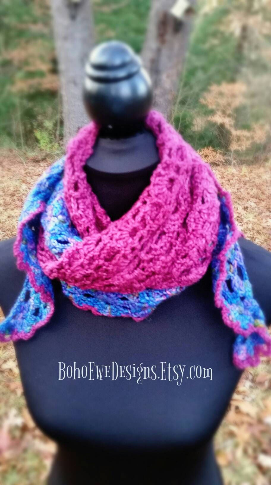Blue and Purple Crochet Shawl, Crochet Triangle Scarf, Blanket Scarf, Merino, Silk and Cashmere Wrap, Winter Crochet Scarf, Gift for Her