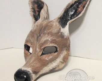 Kangaroo costume mask,  Australian, masquerade mask, animal totem, costume mask, made to order, custom made, Aussie, Kangaroo mask