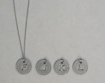 Antique Silver Word Token Necklace