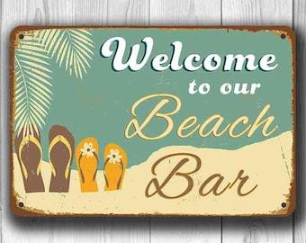 BEACH BAR SIGN, Beach Bar Signs,  Vintage style Beach Bar Sign, Welcome to our Beach Bar, Beach, Beach Decor, beach wall decor, Beach Bar
