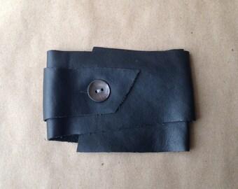 Black Leather Wrap Bracelet w/ Shell Button Closure
