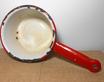 Vintage Pan, Enamel Ware, Red & White, Primitive, Pots and Pans, Enamel Pan, Sauce Pan, Enamel Pot, Small Pan, Enamelware, Farmhouse Decor