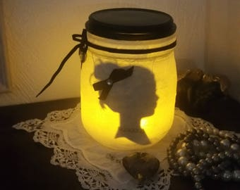 Lady in profile candle Lantern