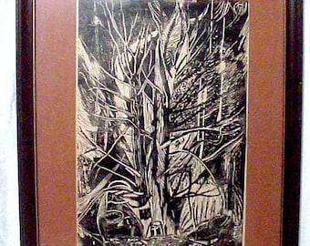 Amazing Large Original Woodcut Woodblock Print, Artist Turshina 1973, Fabulous!