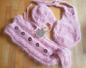 Angora in dusty pink:  girly 3 pieces set