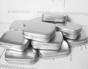 20ml Metal Hinged Tin, Blank (Set Of 20) In Silver Color