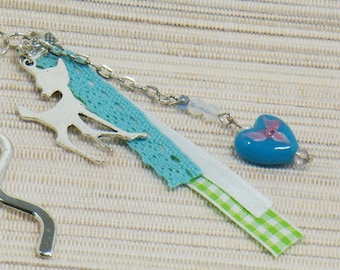 Silver blue heart bookmark and fawn