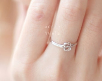 Silver Infinity Double Knot Ring