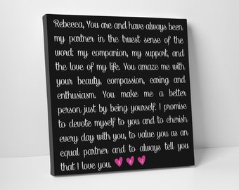 Wedding Vows on Canvas, Formal, Gift for Him or Her