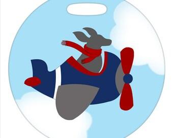Luggage Tag - Flying Gray Blue Dog - Round Plastic Bag Tag