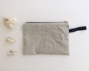 Linen Zip Pouch - Gray/Black/Black