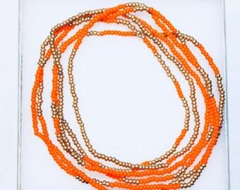 Orange and Gold Bead Wrap-Around Bracelet