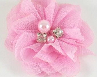 "2"" Pink chiffon rhinestone and pearl flower - Petite fabric flowers - Small flowers - Pink flowers - Wedding flowers - Pick 1 or 3"