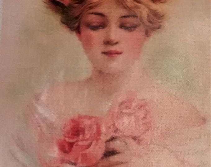 Featured listing image: L-108 Beautiful, Old Fashioned Girl with a Bouquet of Roses Printed on a Lace Trimmed Linen