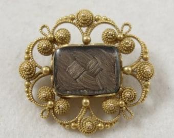 Georgian Gold Cannetille Mourning Sentimental Hair Brooch
