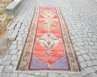 Oushak Rug Runner 122 x 39 inches Runner Rug  Vintage Oushak Rug Handmade Rug  Oushak Runner Rug Turkish Rug Pink Runner Rug