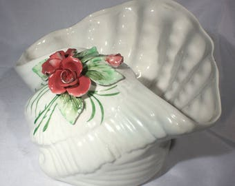Vintage Capodimonte White Shell Planter with Dusty Pink Rose, Cottage Chic Decor