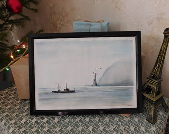 Original art watercolor painting sea,Lighthouse gray illustration gift for him,Fathers day hand painted gift,Mothers day hand painted gift