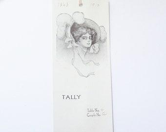 Antique bridge tally card Victorian lady vintage ephemera bookmark style scorecard