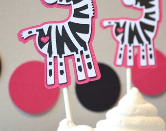 Zebra Cupcake Toppers Hot Pink, Black & White By The Dozen 12