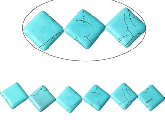 Howlite, green pattern diamonds beads cracked