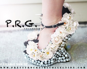 Floral Rhinestone Studded Spike Moon Wedge Heel Shoes, Curved wedge, moon heel shoes, wedding shoes, elegant shoes, fashion shoes
