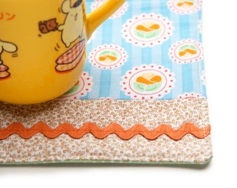 Cute Kawaii Drink Coaster, Japanese Zakka, Blue Floral Drink Coaster, Large Size Fabric Coaster, Flower Mug Rug, Big Mug Mat, OOAK Handmade