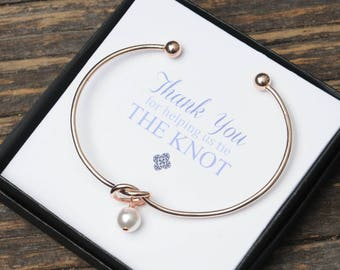 Rose Gold Knot Bangle,Thank you for helping us tie the knot, Pearl Bracelet, Pearl Wire Knot Bangle, Bridal Party Gift, Bridesmaid, Cuff
