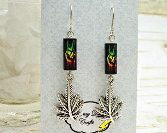 Pot Leaf Earrings, Paper Bead Earrings, Marijuana Earrings, 420 Earrings, Peace Sign Earrings, Rasta Earrings, Pot Smokers Gift, Stoner Gift