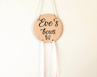Personalised bow/hair clip holder