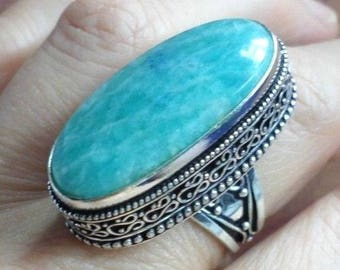 Amazonite (BA126) and 925 silver plated ring