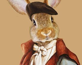 Rabbit Print, Rabbit Art Print, Rabbit Bunny Print, Rabbit Art, Bunny Print, Rabbit Wall Art, 8x10,Brown, Wall Decor, Gift For Men