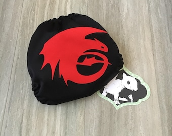 Toothless Dragon Night Fury Cloth Diaper Cover or Pocket Diaper (One Size)