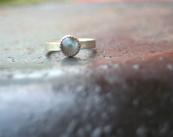 Labradorite Serrated Bezel Setting Thin Comfort Fit Band Matte Finish Sterling Silver Ring Size 7