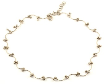 Vintage Curved Beaded Ends Links  Necklace 925 Sterling NC 815