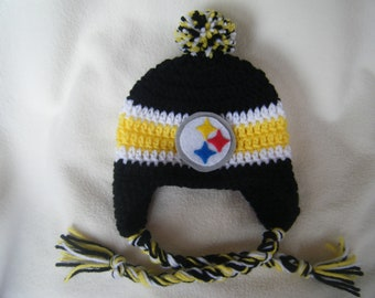 Crocheted Steelers Inspired (Choose your team)  Football Helmet Baby Beanie/hat - Made to Order - Handmade by Me